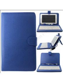 """Funda con teclado tablet 10"""" universal azul"""