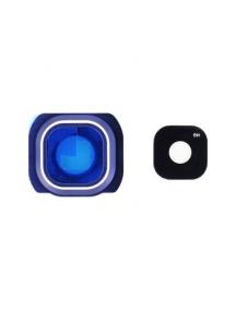 Ventana de cámara + embellecedor Samsung Galaxy S6 Edge G925 azul original