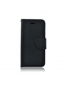 Funda libro TPU Fancy LG Q6 M700N negra