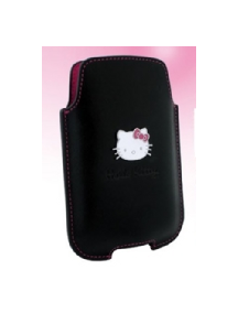 Funda de piel Hello Kitty vertical negra talla L