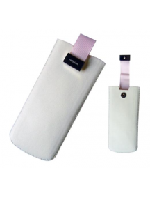 Funda de piel Nokia 6500 classic blanca - rosa
