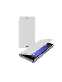 Funda libro Sony SMA5150CW Xperia Z3 Compact D5803 carbono blanc