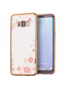 Funda TPU Bloomy Flower Samsung Galaxy S8 G955 Plus dorada
