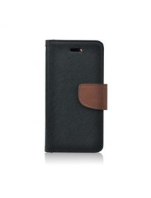 Funda libro TPU Fancy Huawei Honor 6A - 6A Pro negra - marrón
