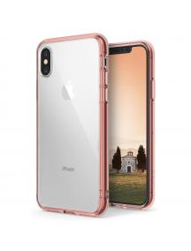 Funda TPU + Bumper Ringke Fusion iPhone X rosa
