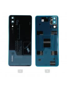 Tapa de batería Huawei P20 azul, original con ventana de cámara