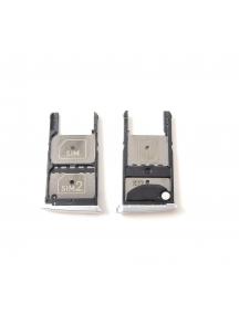 Zócalo de SIM + tarjeta micro SD Lenovo Moto Z Play plata