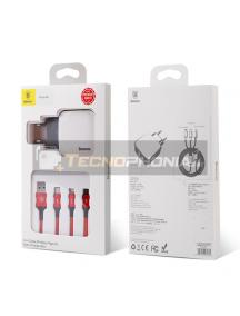 Cargador Baseus Letour TZCL-D92 + cable USB 3 en 1 microUSB, Lightning, USB Type-C