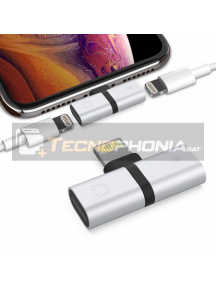 Adaptador de carga + audio Lightning iPhone 8 - 8 Plus - X - XR - XS - XS Max plata
