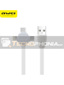 Cable USB 3 en 1 Lightninh - Type-C - Micro USB Awei CL82 blanco