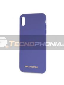 Funda TPU Karl Lagerfeld KLHCPXSLVOG logo dorado iPhone X - XS púrpura