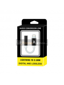Adaptador de audio lightning iPhone 6 - 7 a mini jack 3.5 mm metálico negro