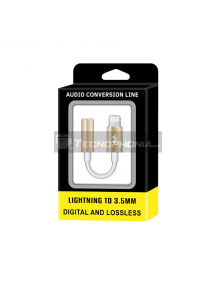 Adaptador de audio lightning iPhone 6 - 7 a mini jack 3.5 mm metálico dorado