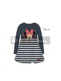 Vestido niña manga larga Minnie Mouse gris - blanco 6 años