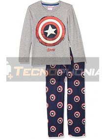 Pijama manga larga niño Capitán América gris - azul 12 años 152cm