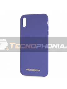 Funda TPU Karl Lagerfeld KLHCI65SLVOG logo dorado iPhone XS Max púrpura