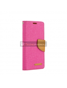 Funda libro TPU Canvas Samsung Galaxy A50 A505 rosa