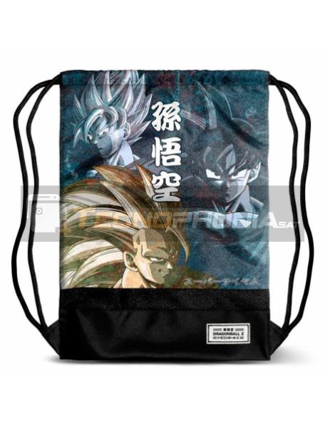 Saco mochila Dragon Ball Goku 48x35x1cm negra