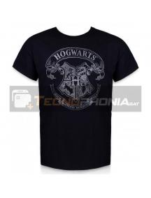 Camiseta adulto manga corta Harry Potter - Hogwarts negra Talla S