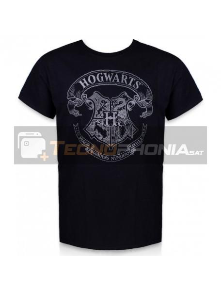 Camiseta adulto manga corta Harry Potter - Hogwarts negra Talla L