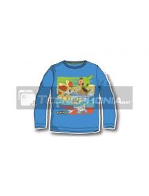 Camiseta infantil manga larga Pokemon azul 12 años