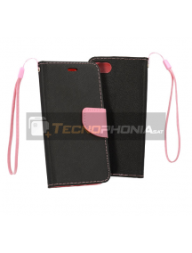 Funda libro TPU Fancy Samsung Galaxy A7 2018 A750 negra - rosa