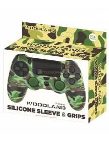 Funda de silicona + Grips Camo Woodland Fr-tec para Mando PS4