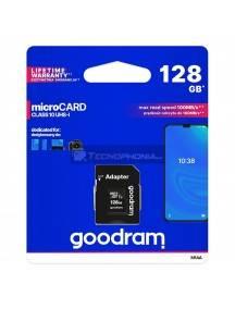 Tarjeta de memoria micro SD Goodram 128gb clase 10 UHS-I Clase 10 100MB/s con adaptador
