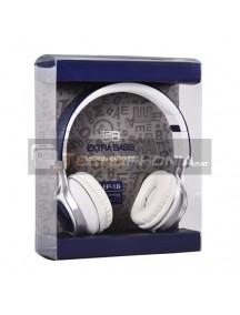 Manos libres diadema Extra Bass EP16 blanco - azul con micrófono