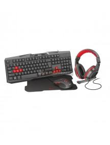 Kit de teclado, ratón, auriculares gaming y alfombrilla Trust Ziva 4 En 1 negro - rojo
