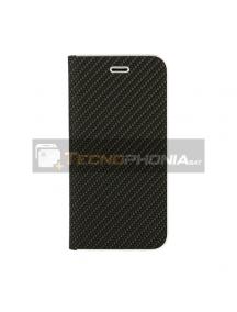 Funda libro Vennus Carbon Huawei P 40 Lite E - Y7P negra