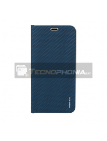 Funda libro Vennus Carbon iPhone 12 Mini azul marino