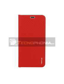 Funda libro Vennus Carbon iPhone 12 - 12 Pro roja