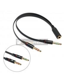 Adaptador de audio con forma Y de 3.5 mm para auriculares y micrófono