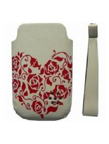 Funda de piel Sony Ericsson flores rojas T707