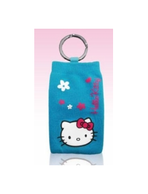 Funda calcetín Hello Kitty azul con flores