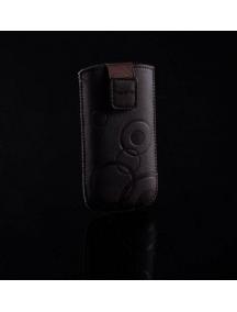 Funda cartuchera en piel Telone Deko marrón para HTC HD2