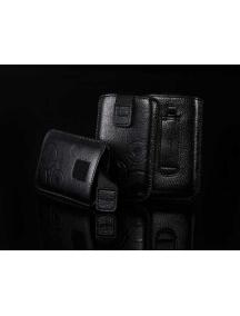 Funda cartuchera en piel Telone Deko negra para HTC HD2