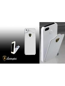 Protector trasero de piel Lamborghini iPhone 5 blanco con tarjet